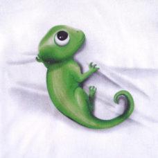 3D kaméleon nyomat fehér baba body-n - Kézzel készített baba-mama kiegészítők, ajándékok - Baby Chameleon