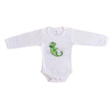 3D kaméleon nyomatos fehér baba body - Kézzel készített baba-mama kiegészítők, ajándékok - Baby Chameleon