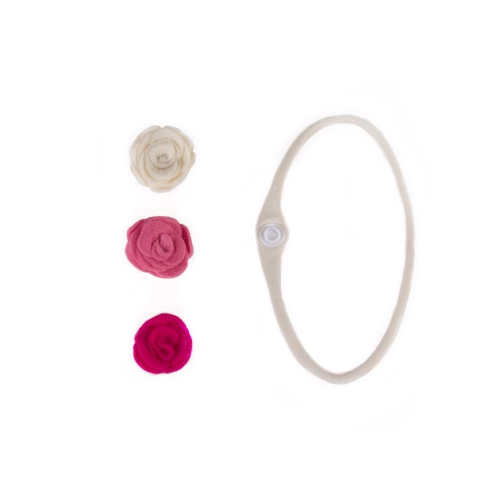 Baba fejpánt szett  három színű rózsával - Kézzel készített baba-mama  kiegészítők 98b5bc3f29
