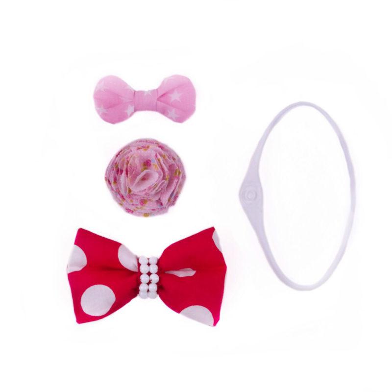 Baba fejpánt szett: piros masni fehér pöttyökkel, rózsaszín rózsa, rózsaszín masni fehér csillagokkal, variálható - Kézzel készített baba-mama kiegészítők, ajándékok - Baby Chameleon