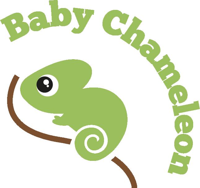 Közepes méretű logo: Kézzel készített baba-mama kiegészítők, ajándékok - Baby Chameleon