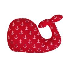 Bálna forma párna: piros alapon fehér horgonyos - Kézzel készített baba-mama kiegészítők, ajándékok - Baby Chameleon