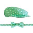 Gatsby sapka csokornyakkendő szett: menta alapon fehér pöttyös - Kézzel készített baba-mama kiegészítők, ajándékok - Baby Chameleon