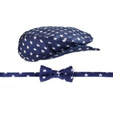 Gatsby sapka csokornyakkendő szett: sötétkék alapon fehér csillagos - Kézzel készített baba-mama kiegészítők, ajándékok - Baby Chameleon